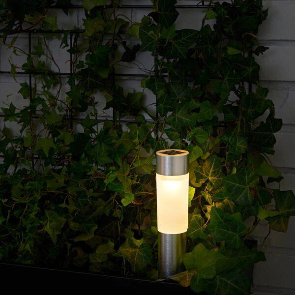 СОЛВИДЕН Светильник на солнечной батарее, цилиндр/цвет алюминия - 804.845.60