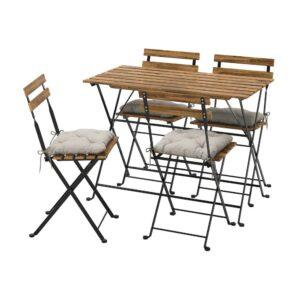 ТЭРНО Стол+4 стула, д/сада, черный/светло-коричневая морилка/Куддарна серый - 793.937.16
