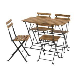 ТЭРНО Стол+4 стула, д/сада, черный/светло-коричневая морилка - 093.937.10