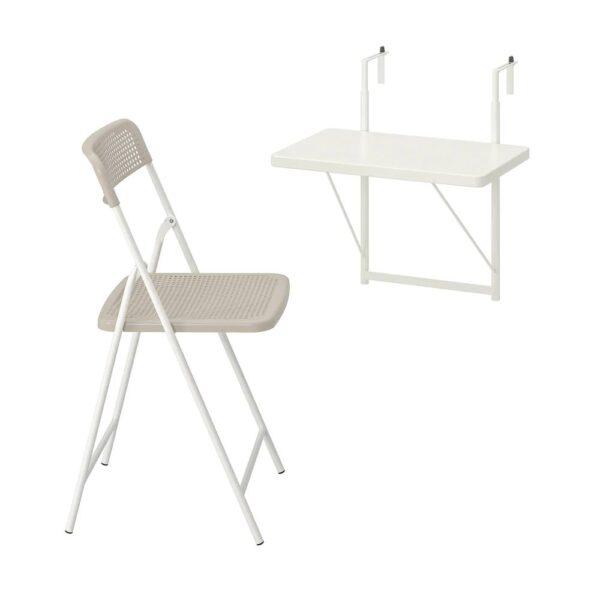ТОРПАРЁ Стол+1 складной стул, д/сада, белый/бежевый 50 см - 194.136.61
