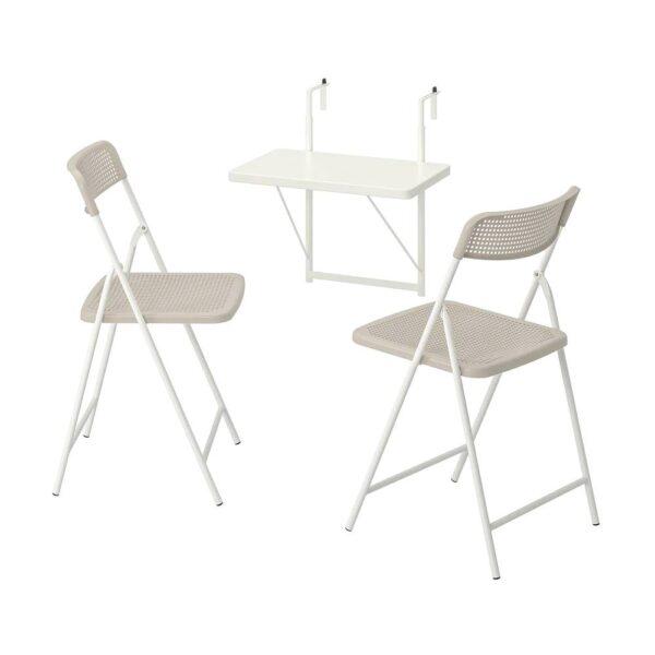 ТОРПАРЁ Стол+2 складных стула, д/сада, белый/бежевый 50 см - 694.136.54