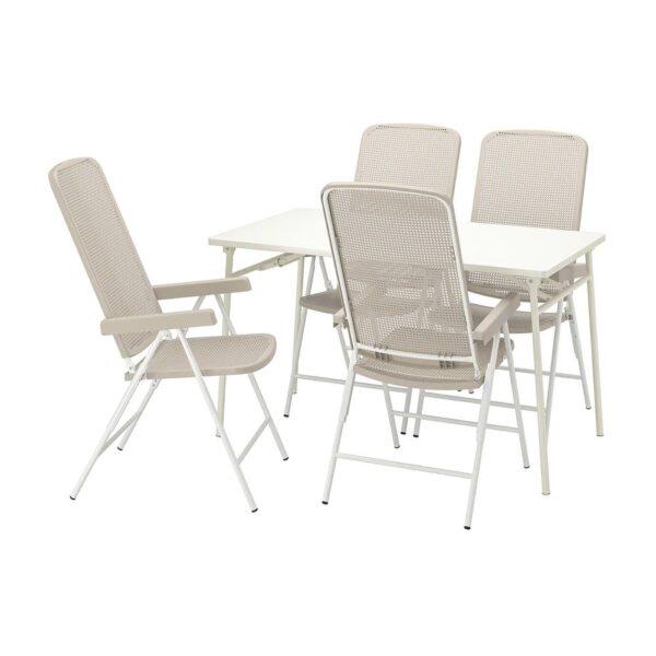 ТОРПАРЁ Стол+4 кресла, д/сада, белый/бежевый 130 см - 694.136.73