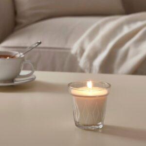 ВЭЛЬДОФТ Ароматическая свеча в стакане, цветок/прозрачное стекло 8 см - 604.677.50