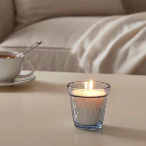 ВЭЛЬДОФТ Ароматическая свеча в стакане, свежесть белья/голубой 8 см - 804.677.49