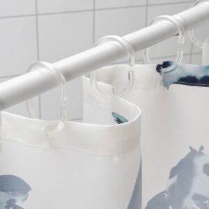Штора для ванной, белый синий/рыба 180x200 см - 004.878.26