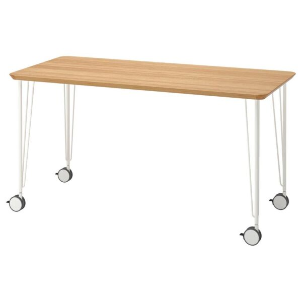 АНФАЛЛАРЕ / КРИЛЛЕ Письменный стол, бамбук/белый 140x65 см - 494.177.09