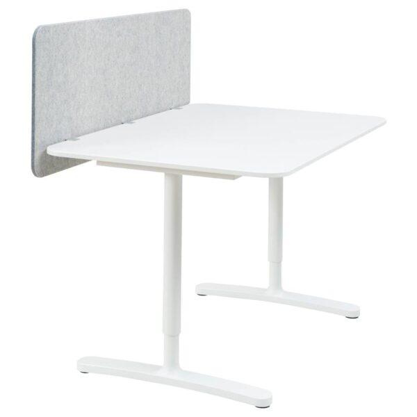 БЕКАНТ Стол с экраном, белый/серый 120x80 48 см - 293.872.99