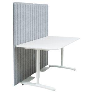 БЕКАНТ Стол с экраном, белый/серый 160x80 150 см - 793.874.52
