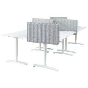 БЕКАНТ Стол с экраном, белый/серый 320x160 48 см - 993.873.90