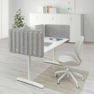 БЕКАНТ Стол с экраном, белый/серый 160x80 48 см - 293.873.84
