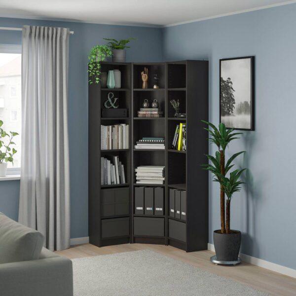 БИЛЛИ Стеллаж угловая комбинация, черно-коричневый 95/95x28x202 см - 993.959.41
