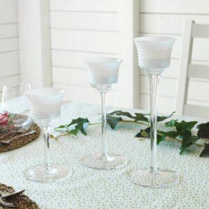 ИНБЬЮДЕН Подсвечник для греющей свечи,3 шт, прозрачное стекло/стекло белый - 404.913.36
