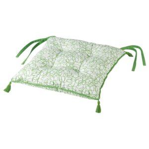 ИНБЬЮДЕН Подушка на стул, бел/зелен 40x40x6.0 см - 804.919.71