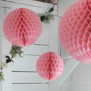 ИНБЬЮДЕН Подвесные украшения, 3 предм., шар розовый - 604.913.97