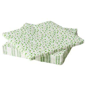 ИНБЬЮДЕН Салфетка бумажная, бел/зелен 33x33 см - 504.914.30