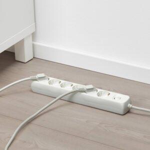 КОПЛА Удлинитель 6-местный с выключателем, белый 1.5 м - 404.120.18