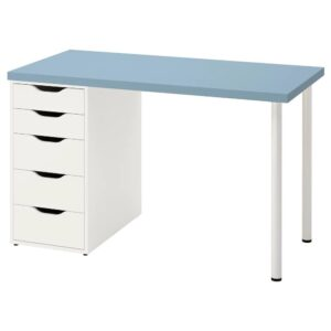 ЛАГКАПТЕН / АЛЕКС Письменный стол, голубой/белый 120x60 см - 794.170.05