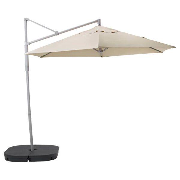 ОКСНЭ / ЛИНДЭЙА Зонт от солнца с опорой, бежевый/Сварто темно-серый 300 см - 092.914.72