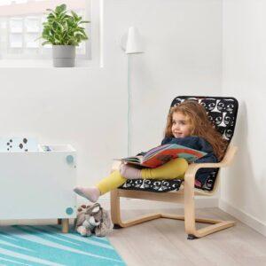 ПОЭНГ Кресло детское, березовый шпон/Гиссларп орнамент «кошки» - 794.175.95