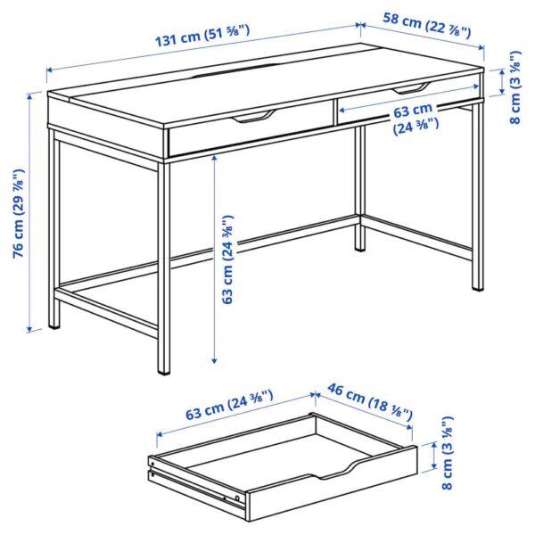 АЛЕКС Письменный стол, белая морилка/под дуб 132x58 см - 204.735.31