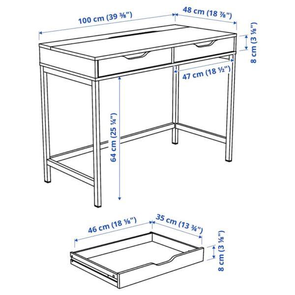 АЛЕКС Письменный стол, черно-коричневый 100x48 см - 704.735.62