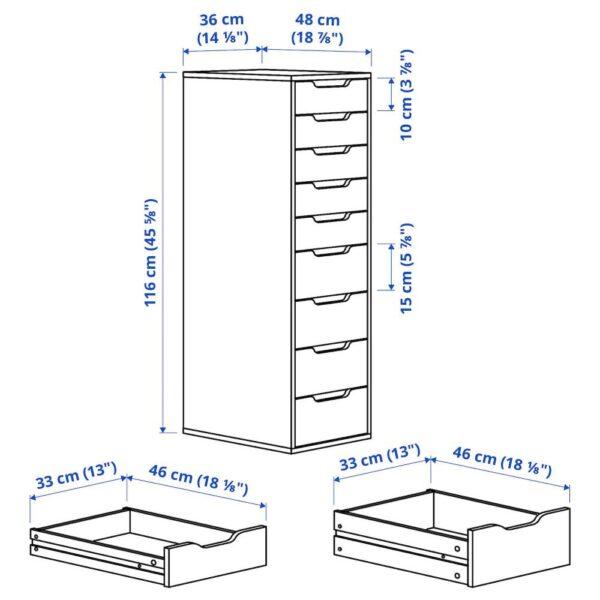 АЛЕКС Секция с 9 ящиками, белая морилка/под дуб 36x116 см - 104.735.36