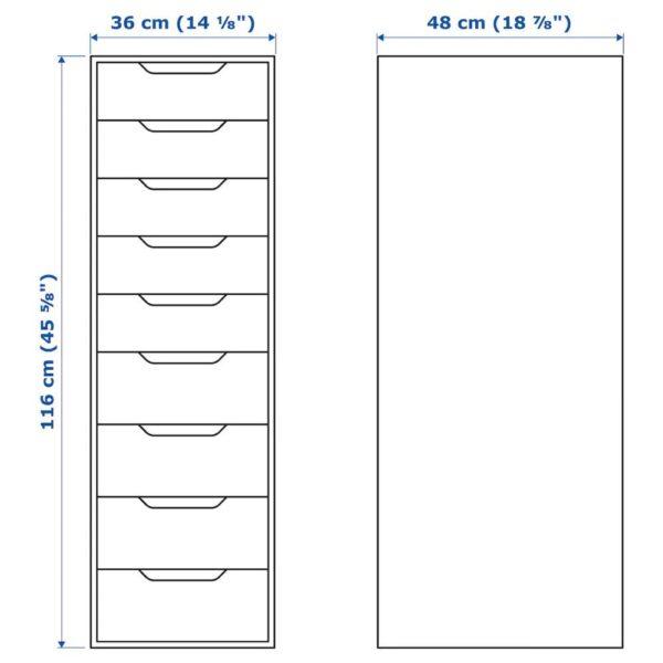 АЛЕКС Секция с 9 ящиками, черно-коричневый 36x116 см - 304.735.40