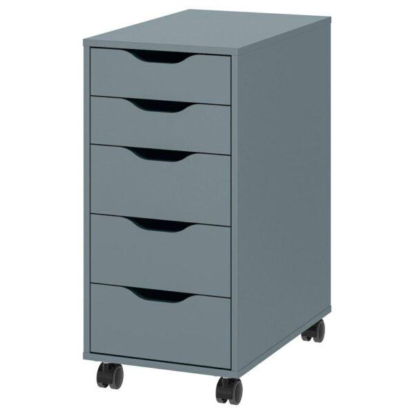 АЛЕКС Тумба с ящиками на колесах, серо-бирюзовый/черный 36x76 см - 794.222.00