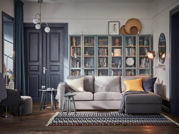 БИЛЛИ Шкаф книжный со стеклянными дверьми, серо-бирюзовый/дубовый шпон, беленый 80x30x202 см - 004.662.68