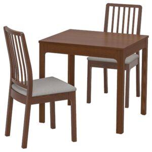 ЭКЕДАЛЕН / ЭКЕДАЛЕН Стол и 2 стула, коричневый/Рамна светло-серый 80/120 см - 392.968.83