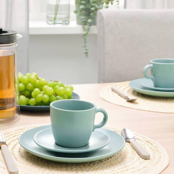 ФЭРГКЛАР Чашка с блюдцем, матовая поверхность светлая бирюза 25 сл - 104.818.24