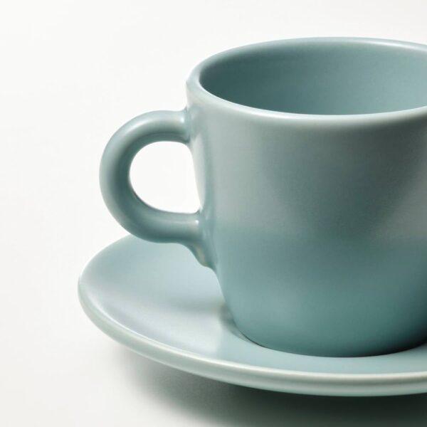 ФЭРГКЛАР Чашка с блюдцем, матовая поверхность светлая бирюза 7 сл - 704.818.21