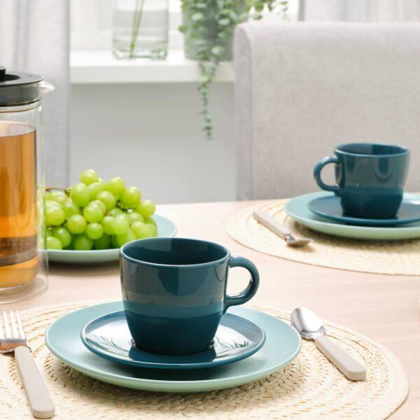 ФЭРГКЛАР Чашка с блюдцем, полированный темная бирюза 25 сл - 204.818.28