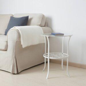 КЛИНГСБУ Придиванный столик, белый/прозрачное стекло 49x62 см - 304.999.79