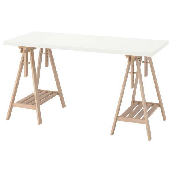 ЛАГКАПТЕН / МИТТБАКК Письменный стол, белый/береза 140x60 см - 694.171.95
