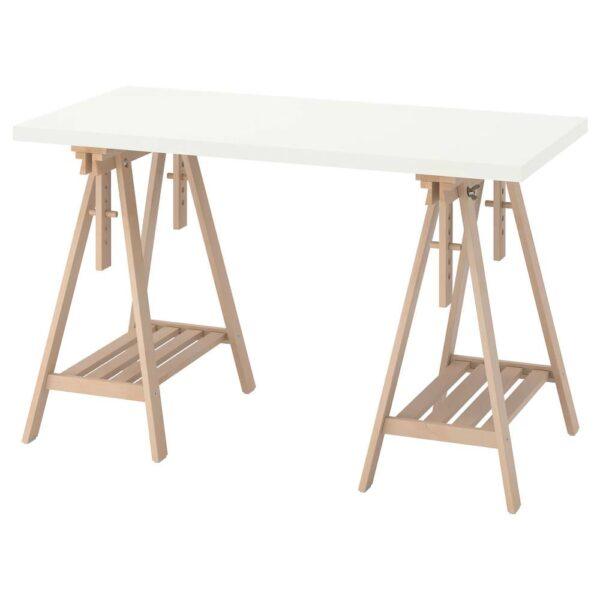 ЛАГКАПТЕН / МИТТБАКК Письменный стол, белый/береза 120x60 см - 894.167.84