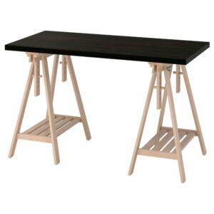 ЛАГКАПТЕН / МИТТБАКК Письменный стол, черно-коричневый/береза 120x60 см - 394.170.45