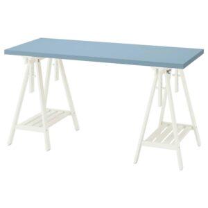 ЛАГКАПТЕН / МИТТБАКК Письменный стол, голубой/белый 140x60 см - 394.173.47
