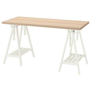 ЛАГКАПТЕН / МИТТБАКК Письменный стол, под беленый дуб/белый 140x60 см - 794.173.07