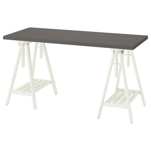 ЛАГКАПТЕН / МИТТБАКК Письменный стол, темно-серый/белый 140x60 см - 794.171.14