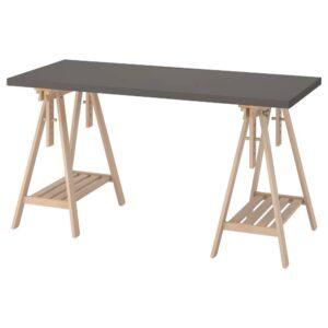 ЛАГКАПТЕН / МИТТБАКК Письменный стол, темно-серый/береза 140x60 см - 394.171.11