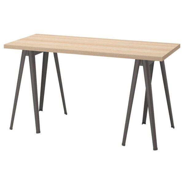 ЛАГКАПТЕН / НЭРСПЕЛЬ Письменный стол, под беленый дуб/темно-серый 140x60 см - 494.173.04