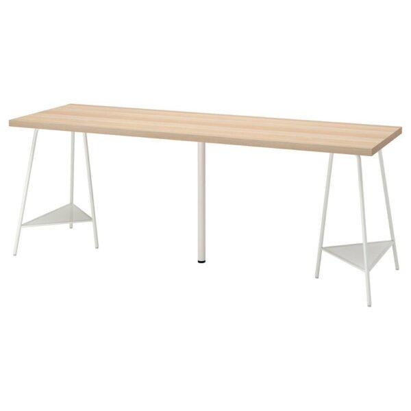 ЛАГКАПТЕН / ТИЛЛЬСЛАГ Письменный стол, беленый дуб/белый 200x60 см - 894.176.51