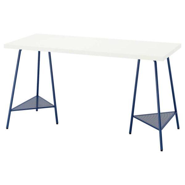 ЛАГКАПТЕН / ТИЛЛЬСЛАГ Письменный стол, белый/темно-синий 140x60 см - 294.172.01