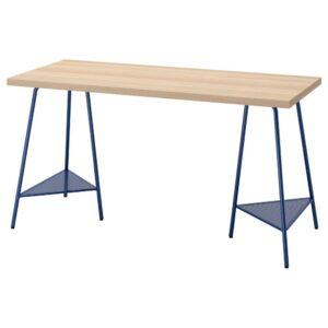ЛАГКАПТЕН / ТИЛЛЬСЛАГ Письменный стол, под беленый дуб темно-синий 140x60 см - 394.173.09