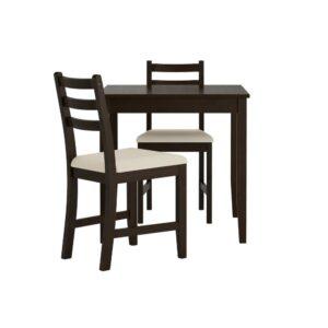 ЛЕРХАМН Стол и 2 стула, черно-коричневый/Рамна бежевый 74x74 см - 393.062.69