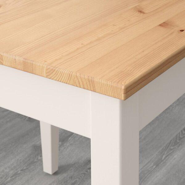 ЛЕРХАМН Стол и 2 стула, светлая морилка антик белая морилка/Рамна бежевый 74x74 см - 193.062.89