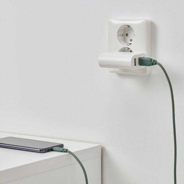 ЛИЛЛЬХУЛЬТ Кабель USB тип А – текстиль/серо-бирюзовый 1.50 м - 504.928.68