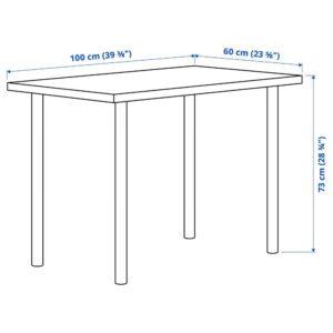 ЛИННМОН / АДИЛЬС Письменный стол, под беленый дуб/черный 100x60 см - 394.163.38