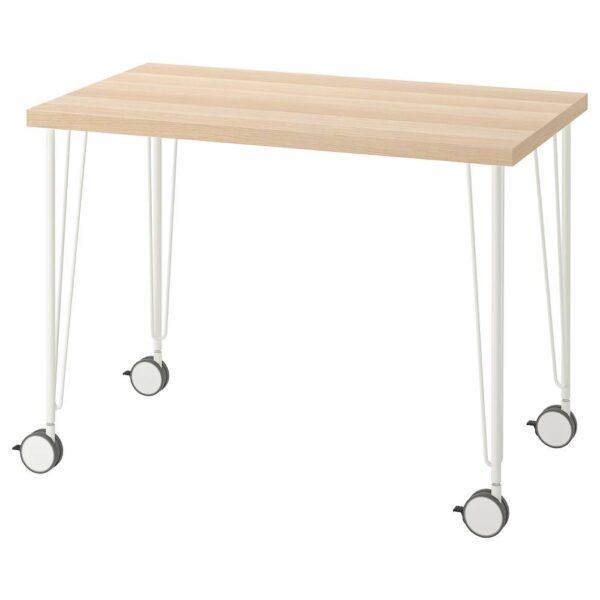 ЛИННМОН / КРИЛЛЕ Письменный стол, под беленый дуб/белый 100x60 см - 994.163.59